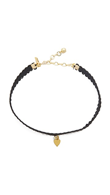 Vanessa Mooney Black Lace Choker with Heart Charm