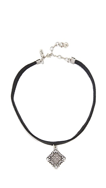 Vanessa Mooney Black Leather Choker with Oxidized Charm