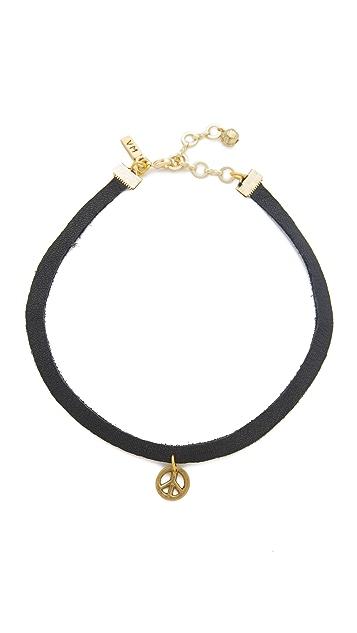 Vanessa Mooney Black Leather Choker with Brass Peace Charm