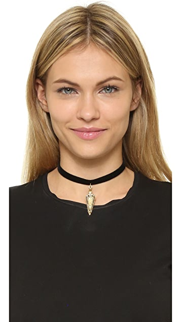 Vanessa Mooney Black Velvet Choker with Crystal Studded Pendant