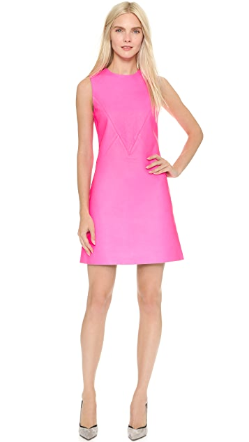 Victoria Victoria Beckham Leather A Line Shift Dress