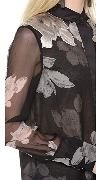 Vera Wang Collection Rose Printed Chiffon Blouse