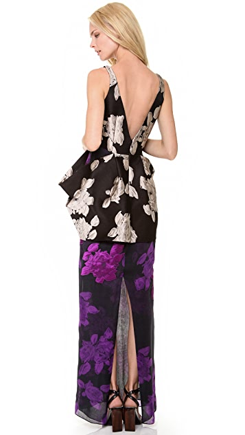 Vera Wang Collection Sleeveless Rose Jacquard Gown