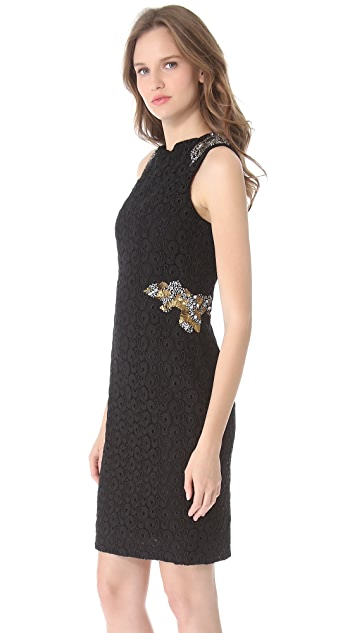 Vera Wang Collection Jewel Applique Dress