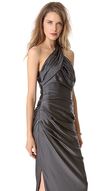 Vera Wang Collection Sleeveless Asymmetrical Gown