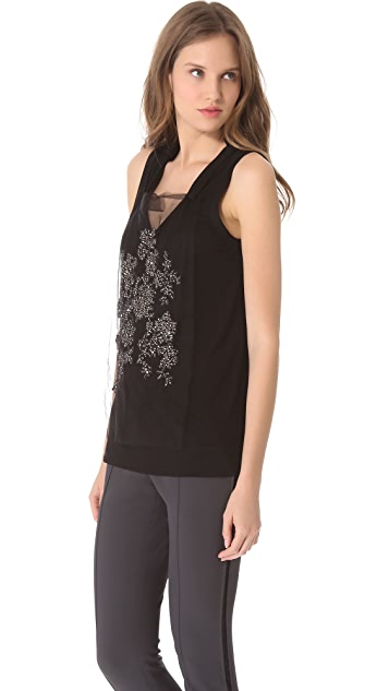 Vera Wang Collection Sleeveless Tank with Floral Rhinestone Bib