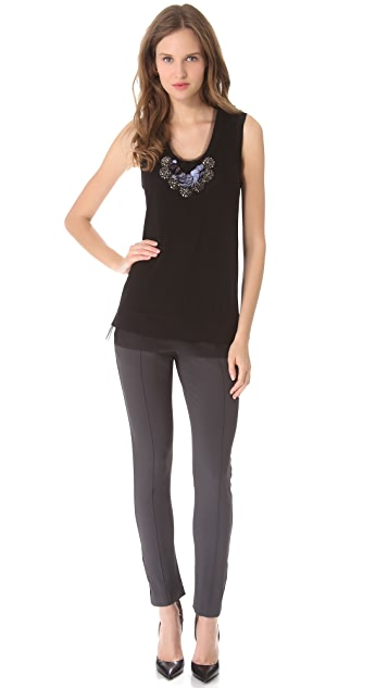 Vera Wang Collection Sleeveless Tank with Embroidered Bib