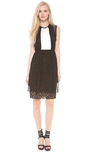 Vera Wang Collection Bi-Color Gathered Shift Dress