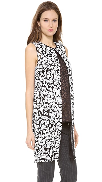 Vera Wang Collection Sleeveless Coat with Sequins