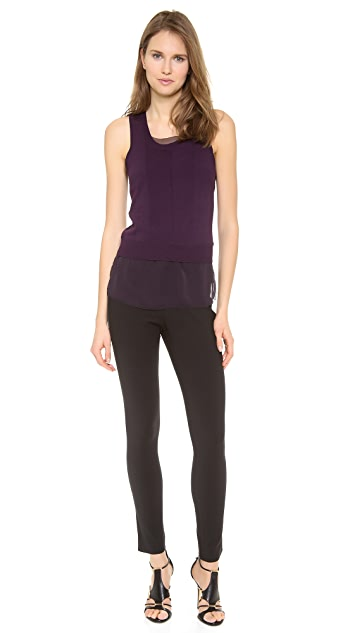 Vera Wang Collection Crewneck Vest with Chiffon Underlay
