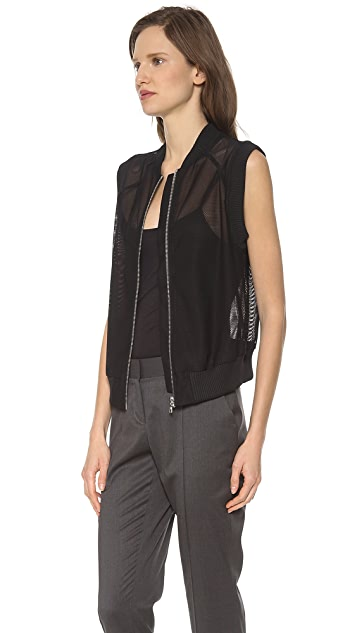 Vera Wang Collection Zip Up Baseball Vest