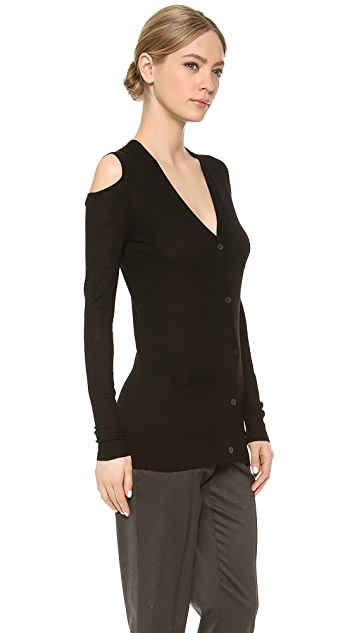 Vera Wang Collection Cutout Shoulder Cardigan