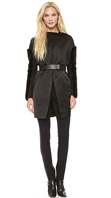 Vera Wang Collection Satin Coat with Black Mink Sleeves