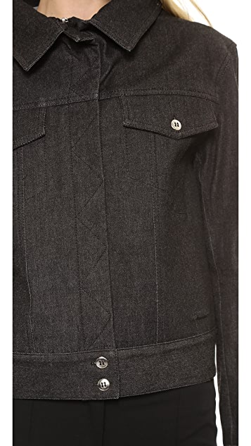 Vera Wang Collection Stretch Denim Portrait Collar Jacket