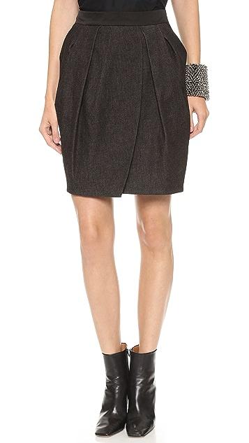 Vera Wang Collection Draped Petal Denim Skirt