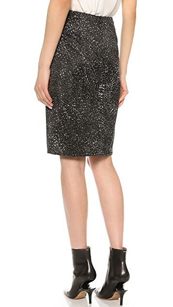 Vera Wang Collection Pencil Skirt with Sequin Front Panel