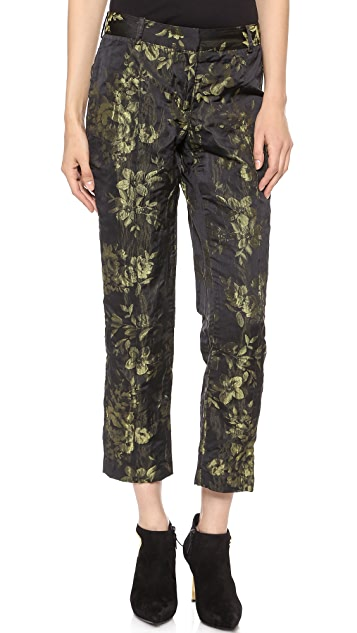 Vera Wang Collection Floral Jacquard Trousers
