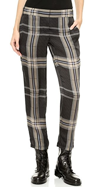 Vera Wang Collection Tartan Silk Drawstring Pants