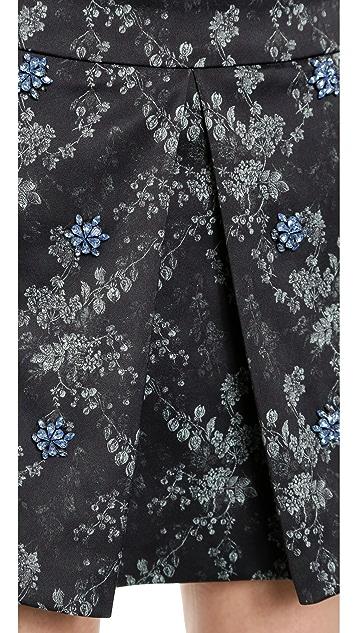 Vera Wang Collection Swarovski Pleat Miniskirt
