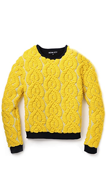 Anzevino Getty Flocking Cable Crew Sweater