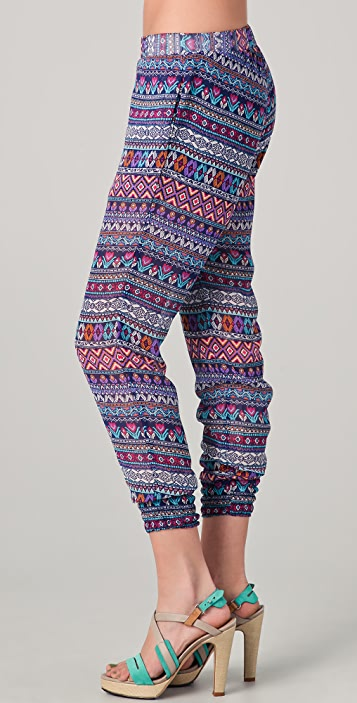 Washborn Chiffon Geometric Print Pants