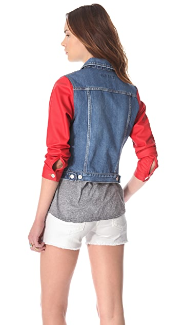 Washborn Faux Leather Sleeve Denim Jacket
