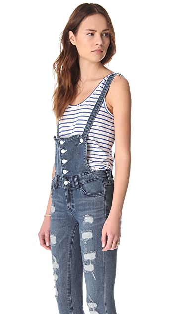 Washborn Destroyed Denim Overalls
