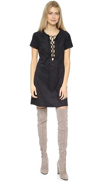 Faux Suede Lace Up Shift Dress