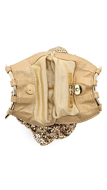 Whiting & Davis Ruffle Double Ring Handle Clutch