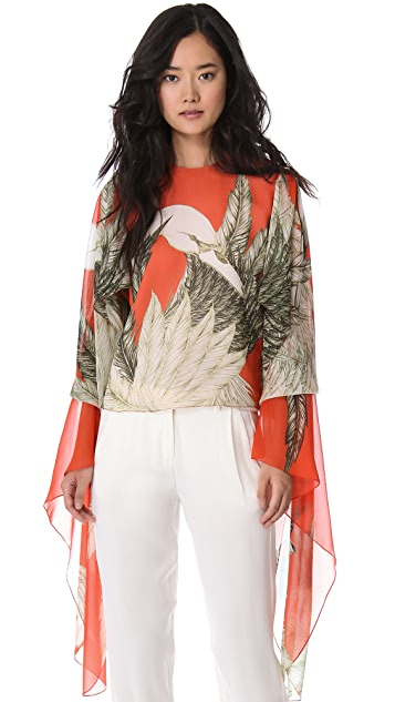 Wes Gordon Draped Sleeve Blouse
