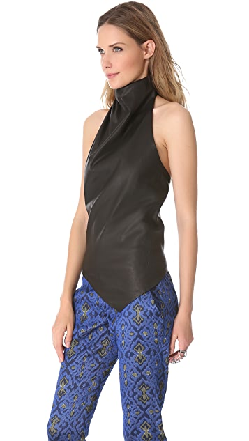 Wes Gordon Leather Turban Halter Top