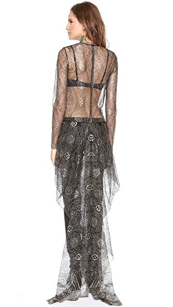 Wes Gordon Draped Lace Top with Train
