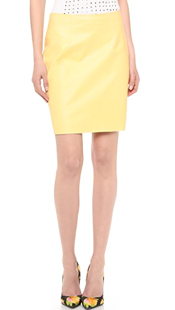 Wes Gordon Leather Straight Skirt