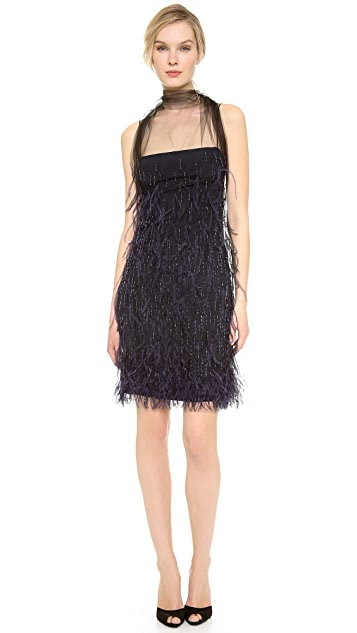 Wes Gordon Feathered Flou Dress