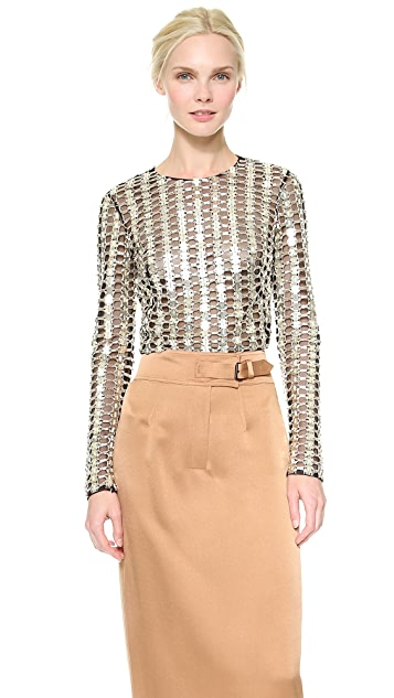 Wes Gordon Cropped Mesh Top with Paillettes