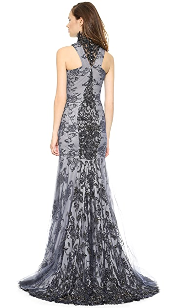 Wes Gordon Beaded Mesh & Lace Gown