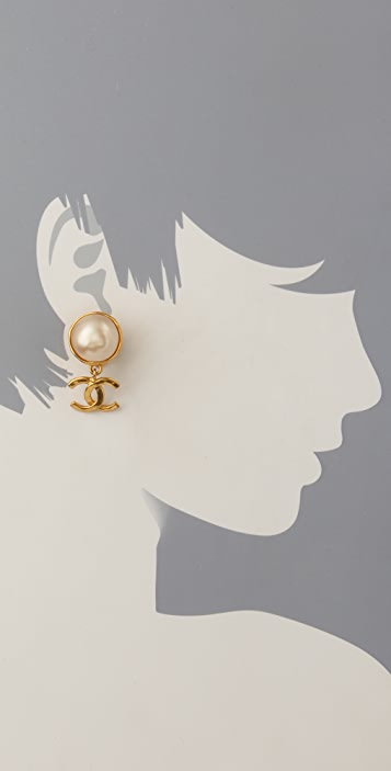 WGACA Vintage Vintage Chanel CC & Pearl Earrings