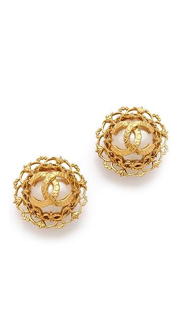 WGACA Vintage Vintage Chanel CC Flower Earrings