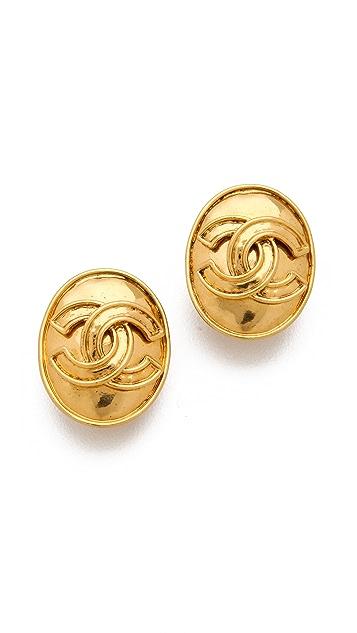 WGACA Vintage Vintage Chanel Oval CC Earrings