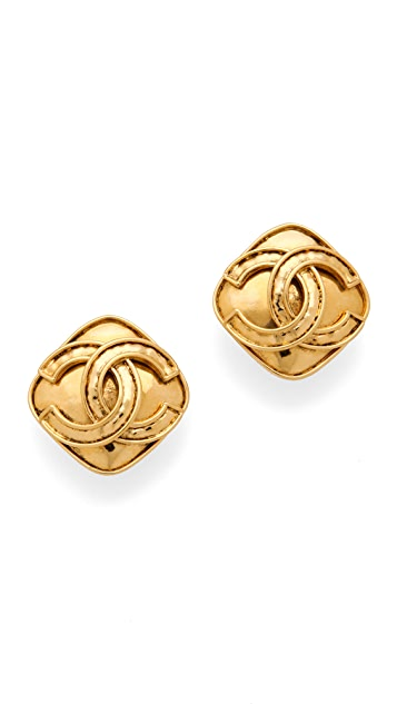 WGACA Vintage Vintage Chanel CC Square Earrings