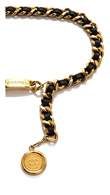 WGACA Vintage Vintage Chanel Cambon Coin Leather Belt
