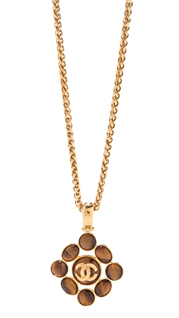 WGACA Vintage Vintage Chanel Tiger Eye Pendant Necklace