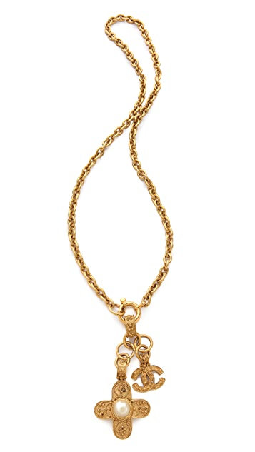 WGACA Vintage Vintage Chanel CC Cross Drop Necklace