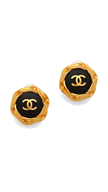 WGACA Vintage Vintage Chanel Round CC Earrings