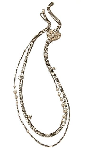 WGACA Vintage Vintage Chanel CC Heart Pearl Necklace