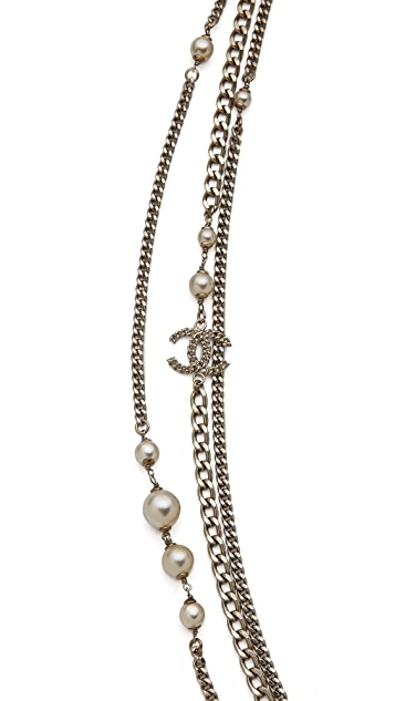 WGACA Vintage Vintage Chanel CC Heart Pearl Necklace
