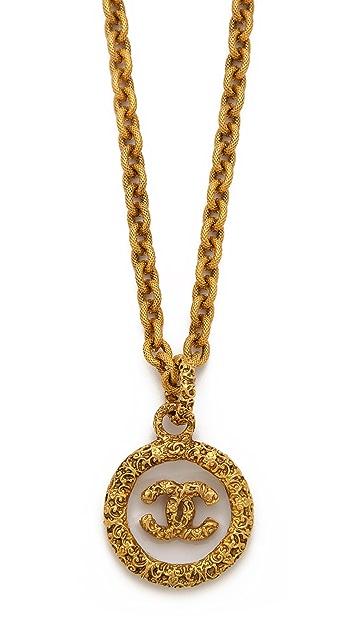 WGACA Vintage Vintage Chanel Florentine Glass Necklace