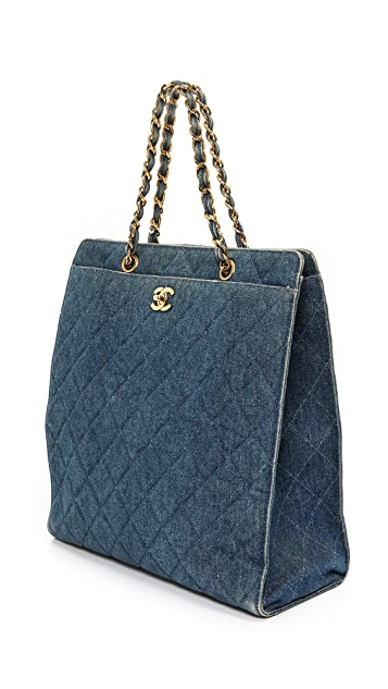 What Goes Around Comes Around Chanel Quilted Denim Tote
