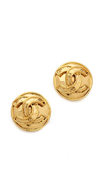 What Goes Around Comes Around Vintage Chanel CC Round Earrings