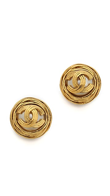 What Goes Around Comes Around Vintage Chanel CC Round Clip On Earrings